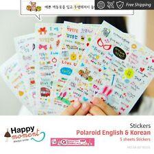 Polaroid English & Korean Stickers For Diary Day Planner & Organizer 5 sheets