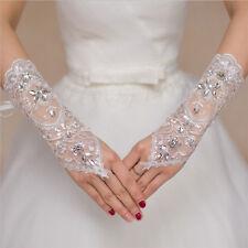 Guanti sposa bianco perline ricami in rilievo abito da sposa corto da sposa