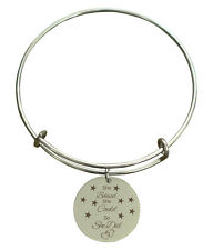 "Pink Box ""She Believed She Could So She Did"" Stainless Steel Expandable Bangle"