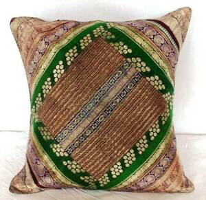 Indian Bohemian Silk Brocade Ethnic Fine Patchwork Cushion Cover For Home Decor