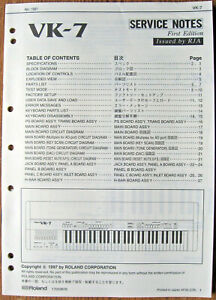 Roland VK-7 Combo Organ Original Service Manual Booklet, Schematics, Parts List