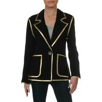 Aqua Womens Black Suede Metallic One-Button Blazer Jacket M BHFO 5752
