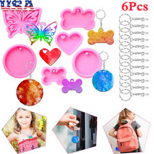 6PCS Silicone Keychain Molds Dog Bone Heart Butterfly Shape Resin Mould Kits