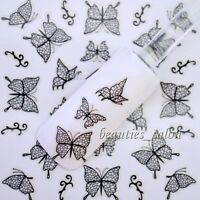 3D Nail Art Stickers Black Butterfly Pattern Manicure Decals Tips Decoration