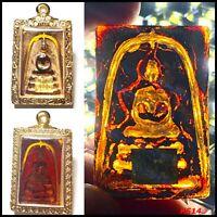 Yellow Leklai Kaew Phra Somdej Relics LP Toh Thai Amulet Necklace Case Gold K511