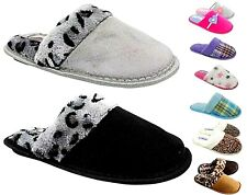WOMENS LADIES SLIP ON FURRY MULES COSY WARM FLUFFY FUR SLIPPERS RUBBER SOLE
