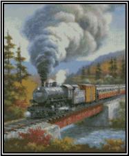 Steam Engine Train Scene Counted Cross Stitch COMPLETE KIT No.34-105