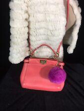 Authentic FENDI Pink Mini Peekaboo 8BN244 Leather Handbag
