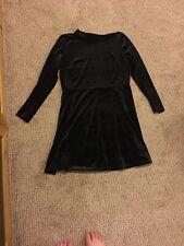 Topshop Black Velvet Long Sleeve Dress Womens Size US 12