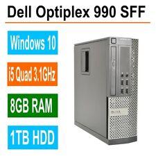 Dell optiplex 990 SFF Desktop PC, i5 Quad 3.1GHz, 8GB Ram 1TB HDD, DVD/RW Win 10