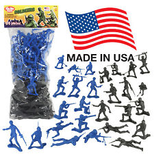 TimMee Processed Plastic Army Men: 96 Black & Blue Tim Mee Toy Soldier Figures