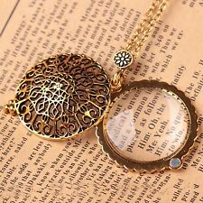Hollow Carving Design Magnifying Alloy Pendant Monocle Necklace Gold Style