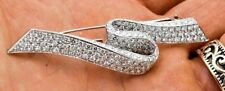 4.60CT NATURAL ROUND DIAMOND 14K SOLID WHITE GOLD BROOCH PIN