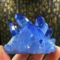 70g Natürliche Quarz Kristall Blau Titan Mineral Heilstein Cluster Stab