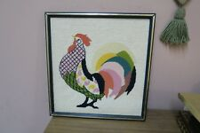 "Vintage Hand Stitched Finished Needlepoint Framed 15"" x 16"" - 17"" x 18"" Rooster"