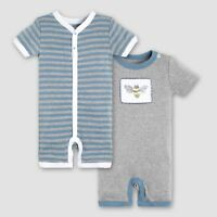 Burt's Bees Baby Boys' Infant Organic Cotton 2pk Shortall 0-3 Months  NWT