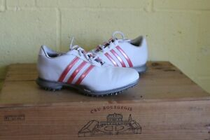 LADIES WHITE & PINK LEATHER GOLF SHOES TRAINERS SIZE 4.5 / 37.5  ADIDAS TRAXION