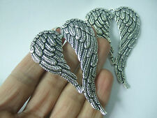 10 x Large ANGEL WINGS FEATHER Tibetan Silver Charms Pendants Jewellery Findings