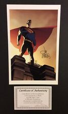 "SUPERMAN Color Print 17"" x 11"" Signed LEE WEEKS COA Beautiful! Standing on Roof"