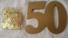 Zahl 50 Gold Holz + Konfetti