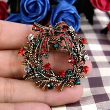 Retro Flower Multicolored Austrian Crystal Brooch Pin Women Christmas Decoration