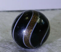 #11380m Vintage German Handmade Black Banded Lutz Marble .69 Inches