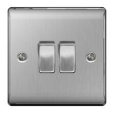 BG Nexus Metal NBS42 - STAINLESS STEEL Double Switch 2 Gang 2 Way Brushed Satin