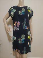 OTHER STORY Black Floral Print Viscose Ballet Neck Sleeveless Pencil Dress 6