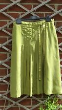 M&S Per Una Lime / Acid Green pleat front silk like skirt Pleated front UK 10