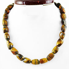 540.00 Cts Natural Faceted Golden Tiger Eye Untreated Genuine Beads Necklace