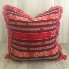 Brand New Batik Red Pink Peach Boho Cushion 50 x 50cm with fringing