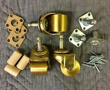 """Wide Poly Wheel Caster Kit for Upright Pianos 4 Casters Hardware 1200lb 2"""" Dia"""