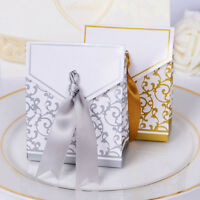 1/100pcs Gold Sliver Favor Ribbon Gift Box Candy Boxes Wedding Party Decor