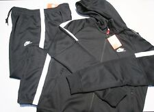 NIKE JOGGING SET SWEATSUIT TRACKSUIT BLACK HOODY & PANTS MEN XL POLY KNIT
