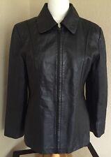 Womens Size Medium Worthington Rich Black Leather Jacket Full Zip Front Pockets