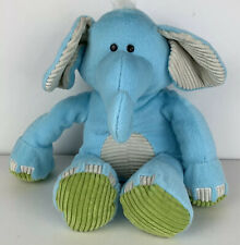 Animal Adventure Plush Blue Elephant Stuffed Animal Ribbed White Green Accents