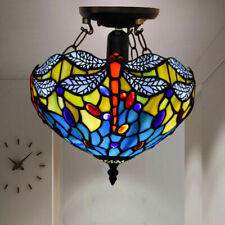 Antique Tiffany Style Ceiling Lamp Handcrafted Uplighters Light Stained Glass UK