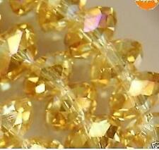 70pcs, Jaune cristal  perles en vrac , 6x8mm