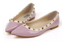 Mary Jane Ballerinas Flats with Studs Patent Faux Leather Shoes Size 36 - 43