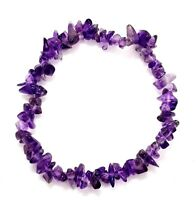 Amethyst Gem Chip Bracelet Calming Gemstone Crystal Jewellery Healing UK Seller