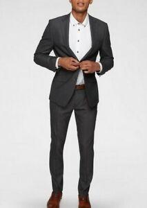Bugatti Herren Anzug Wolle Sakko Hose Anthrazit Business Stretch Hochzeit Gr.58