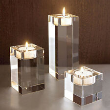 Cube Crystal Candle Holder Table Centerpiece Candlestick Tea Light Wedding Decor