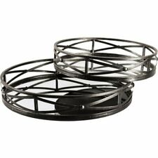Merana Piers Set of Two Black Metal Mirrored Round Trays