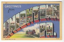 [55092] Old Large Letter Postcard Greetings From Uniontown, Pennsylvania
