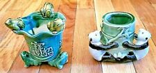 Pair of Very Old Small Chinese Pottery Vases-Frogs & Pandas-Friendship-Healing -G