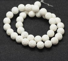 1 strand 15 inch 10mm Natural Lava Gemstone Round Bead in white-7951m