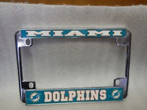 MIAMI  DOLPHINS    MOTORCYCLE SILVER LICENSE FRAME ( US M/C )