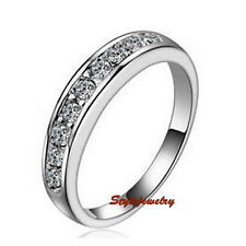 18k White Gold Plated Wedding Band Eternity Ring Made With Swarovski Crystal R92