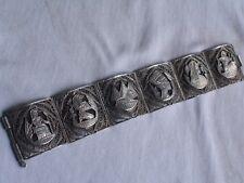 Vintage Egyptian Revival Silver Filigree ART DECO Wide Panel Link Bracelet no048