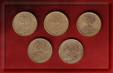 Greece 1990-2000 20 Drachma  Dionisis Solomos All mint dates 5 coins set KM #154